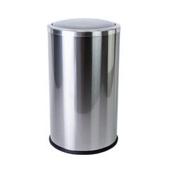 Урна для мусора 20л, из нерж.стали с вращ.крышкой,круглая - фото 14615