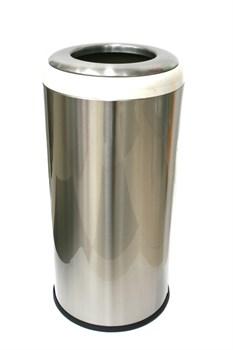 Урна круглая металлическая без крышки с бежевой декоративной съемной окантовкой 36 л - фото 14686