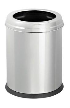 Урна 8л из нержавеющей стали с ободком, круглая, внутренний пластиковый контейнер - фото 14692