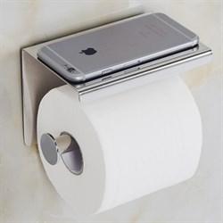 Держатель для туалетной бумаги с полочкой для телефона хром металл - фото 17943