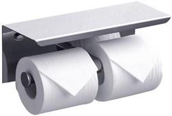 Держатель для туалетной бумаги двойной с полочкой для телефона хром металл - фото 17948