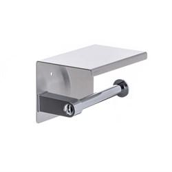 Держатель для туалетной бумаги с полочкой для телефона хром металл - фото 20874