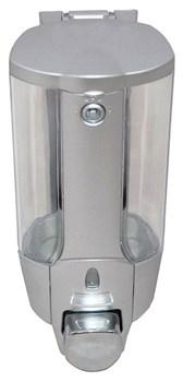 Дозатор для жидкого мыла пластиковый хром 350 мл (0,35л) - фото 4875