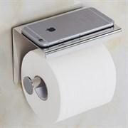 Держатель для туалетной бумаги с полочкой для телефона хром металл