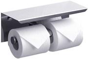 Держатель для туалетной бумаги двойной с полочкой для телефона хром металл
