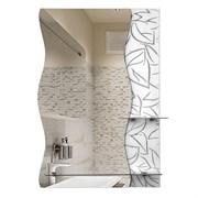 Зеркало 60*80 см с белым стеклом и полками 52 см и 20 см