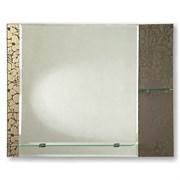 Зеркало 74.5*60 см с темным стеклом и полками 52 см и 20 см