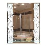 Зеркало 53.5*68 см с матированным рисунком и полкой 50 см