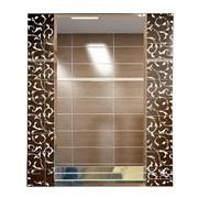 Зеркало 56.5*68 см с матированным рисунком и полкой 50 см
