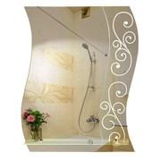 Зеркало 56*68 см с матированным рисунком и полкой 50 см