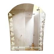 Зеркало 58*70 см с матированным рисунком и полкой 40 см