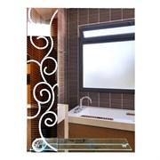 Зеркало 60*80 см с матированным рисунком и полкой 50 см