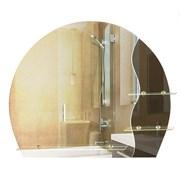 Зеркало 75*63 см с тонированным зеркалом и полочками 50 см и 2*20 см
