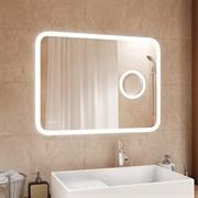 Зеркало 1000 х 700 мм сенсорное с внутренней LED подсветкой + 3 х кратная линза + часы