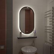 Зеркало 450 х 800 мм сенсорное с внутренней ореольной LED подсветкой